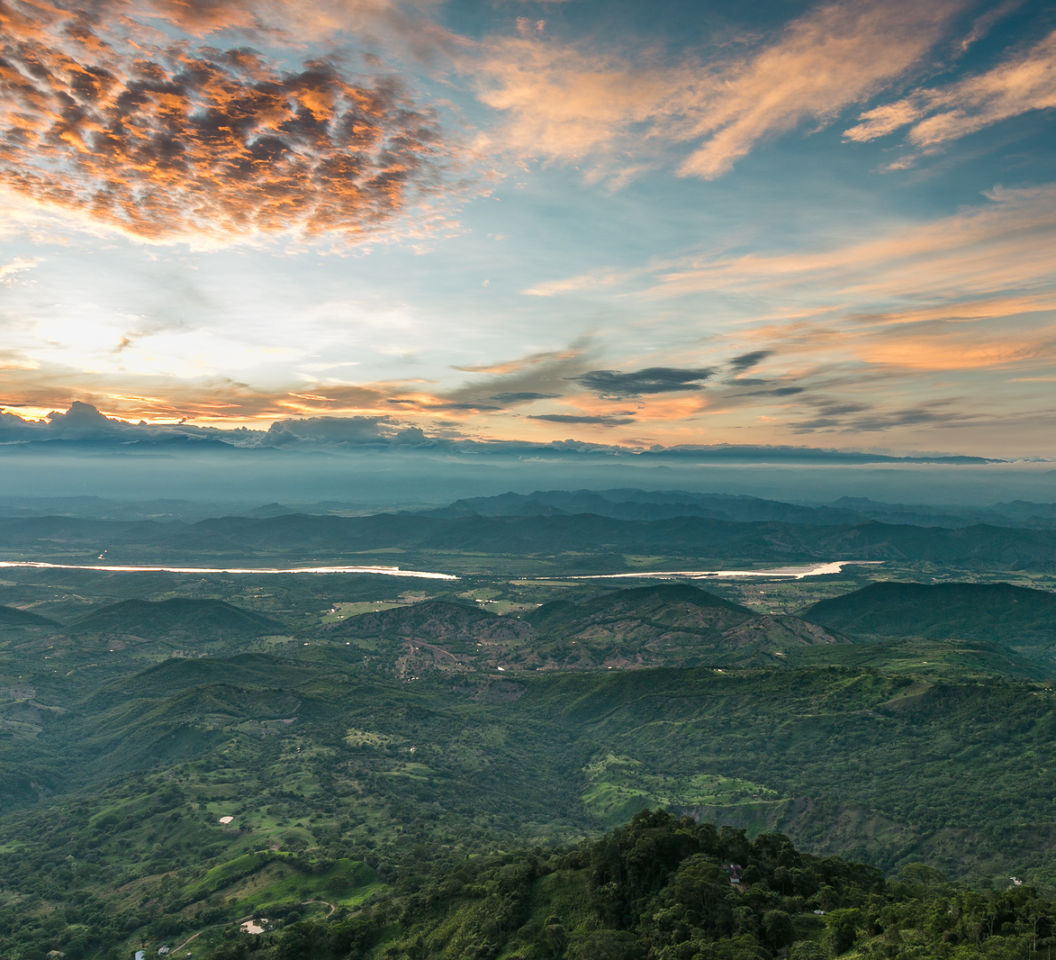 Sunset On The Top Of The Mountains, Green Jungle In The Mountain